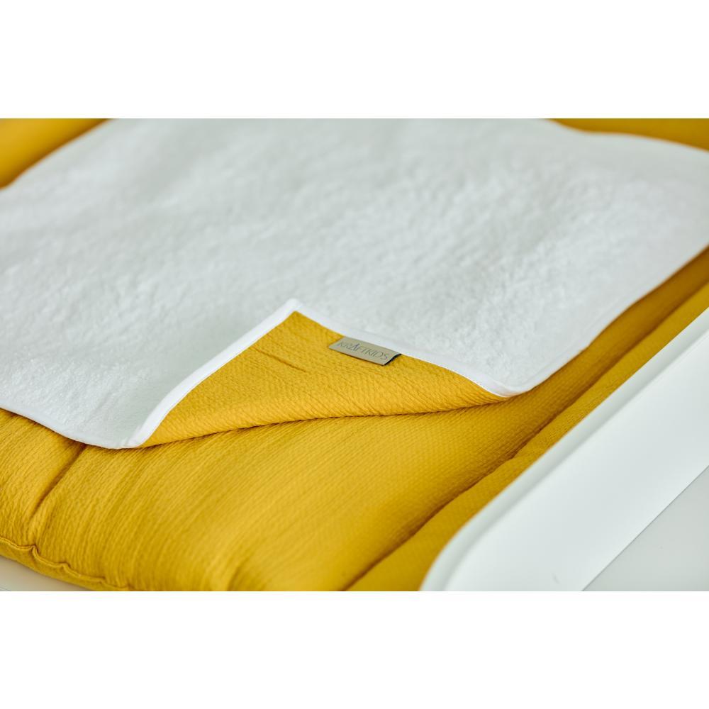 KraftKids Wickelunterlage Doppelkrepp Gelb Mustard 3 Lagen wasserundurchlässig weich Frotte 100% Baumwolle