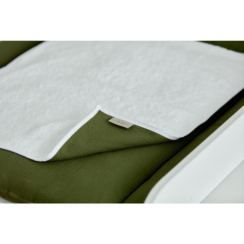 KraftKids Wickelunterlage Doppelkrepp Grün Herbstgrün 3 Lagen wasserundurchlässig weich Frotte 100% Baumwolle
