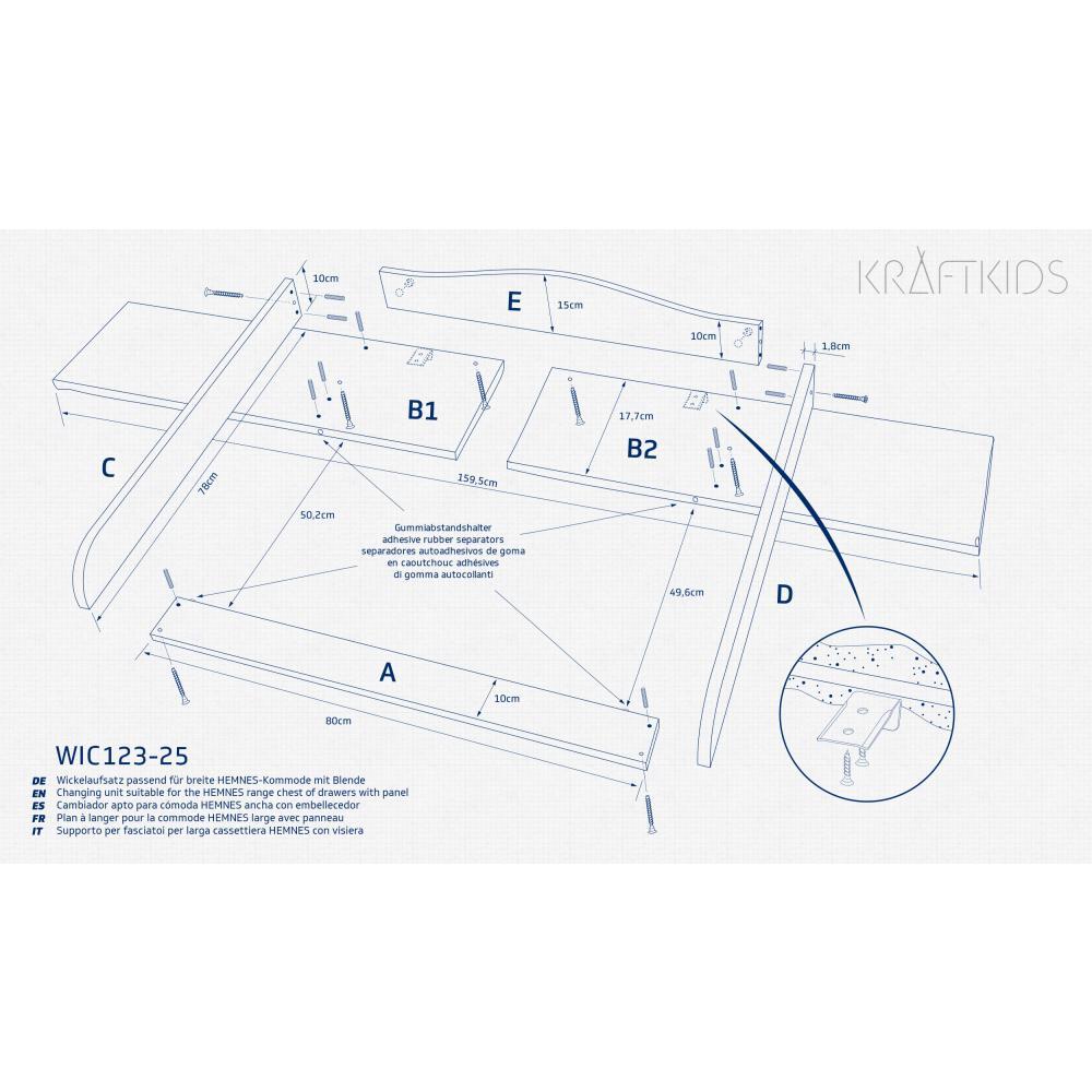 KraftKids Wickelaufsatz weiß passend für 160 cm breite HEMNES Kommode Blende