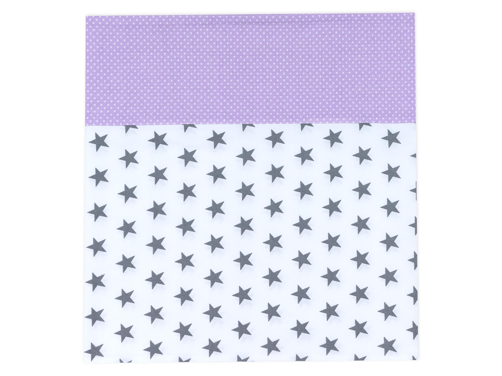 kraftkids stilltuch kleine graue sterne auf weiss und wei e punkte auf lila. Black Bedroom Furniture Sets. Home Design Ideas