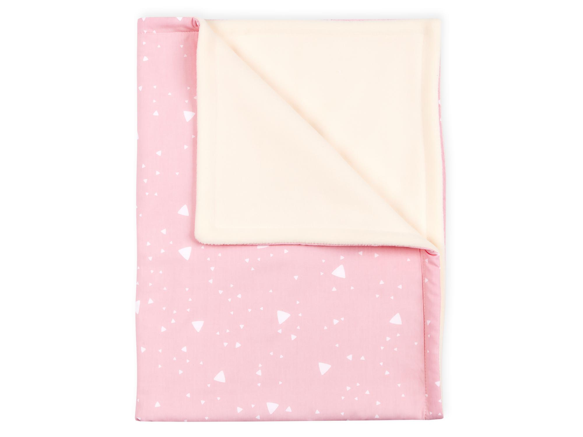 KraftKids Babydecke abgerundete Dreiecke weiß auf Rosa