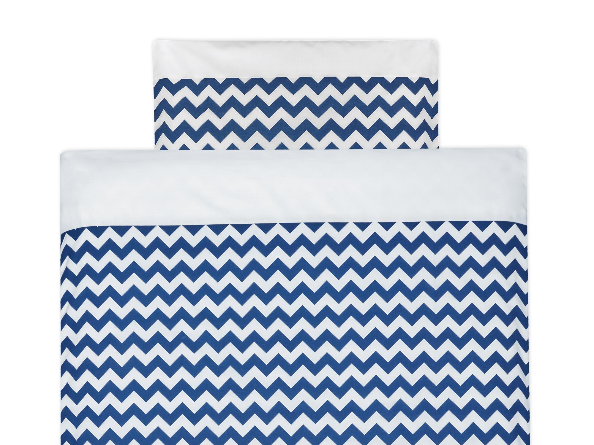 KraftKids Bettwäscheset Uniweiss und Chevron dunkelblau 100 x 135 cm, Kissen 40 x 60 cm