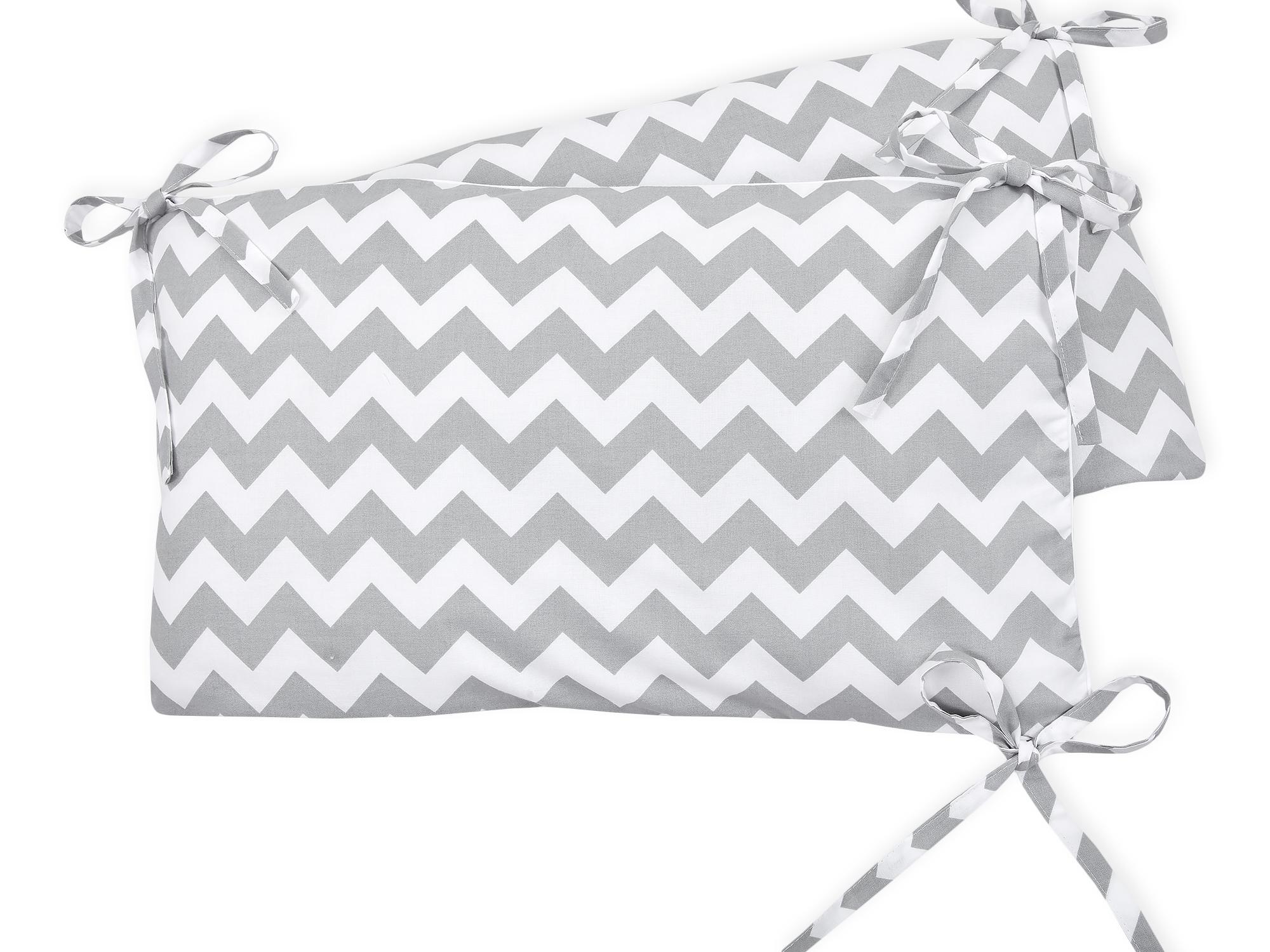 KraftKids Nestchen Chevron grau Nestchenlänge 60-70-60 cm für Bettgröße 140 x 70 cm