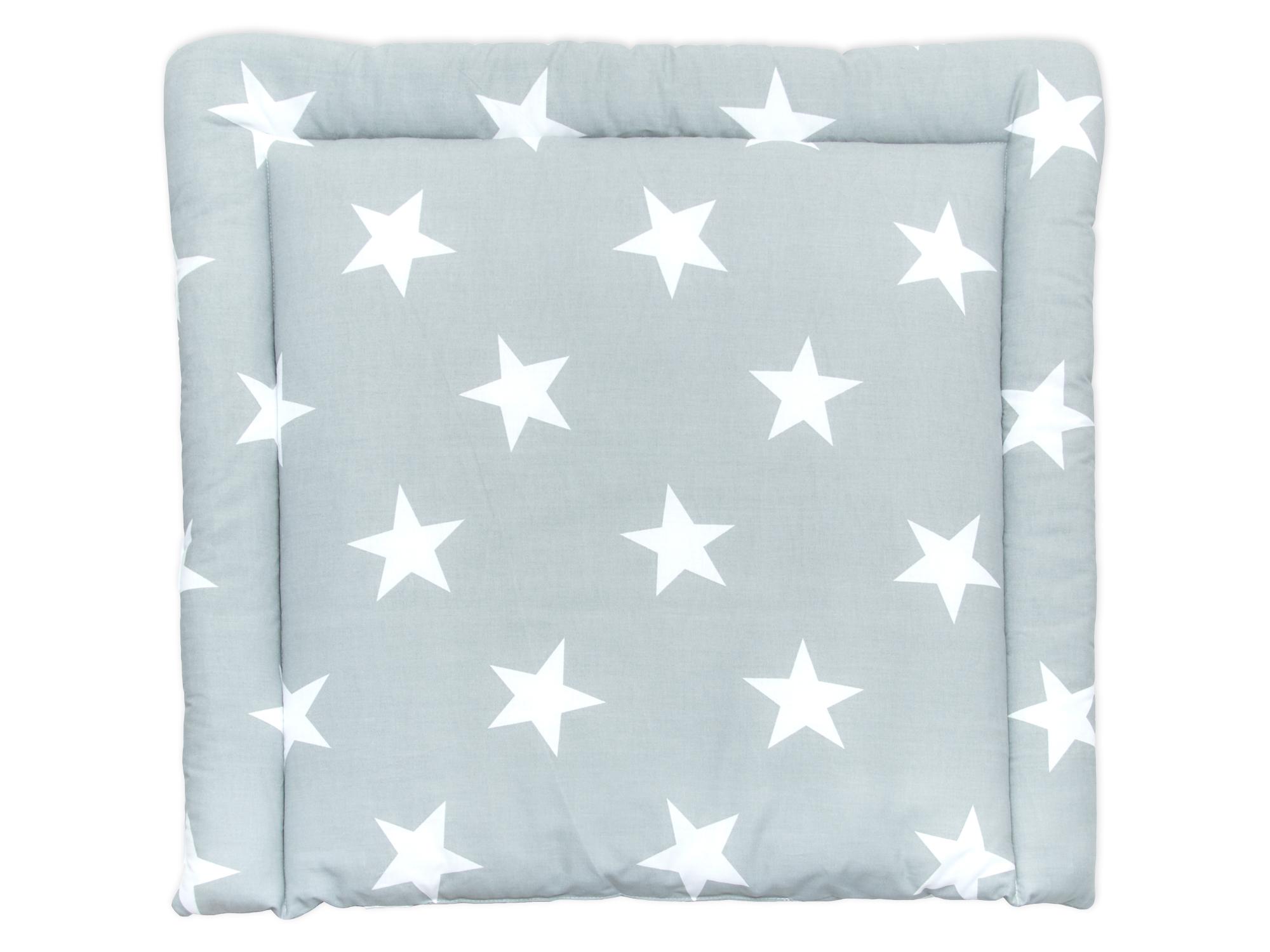 KraftKids Wickelauflage große weiße Sterne auf Grau 85 cm breit x 75 cm tief