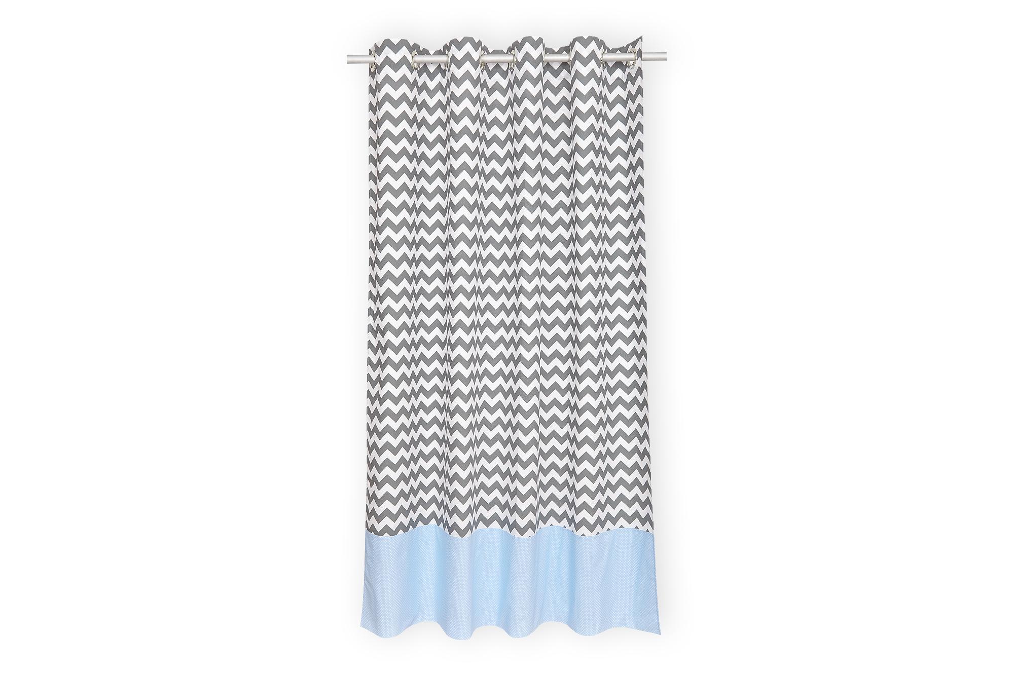 KraftKids Gardinen weiße Punkte auf Hellblau und Chevron grau Länge: 170 cm