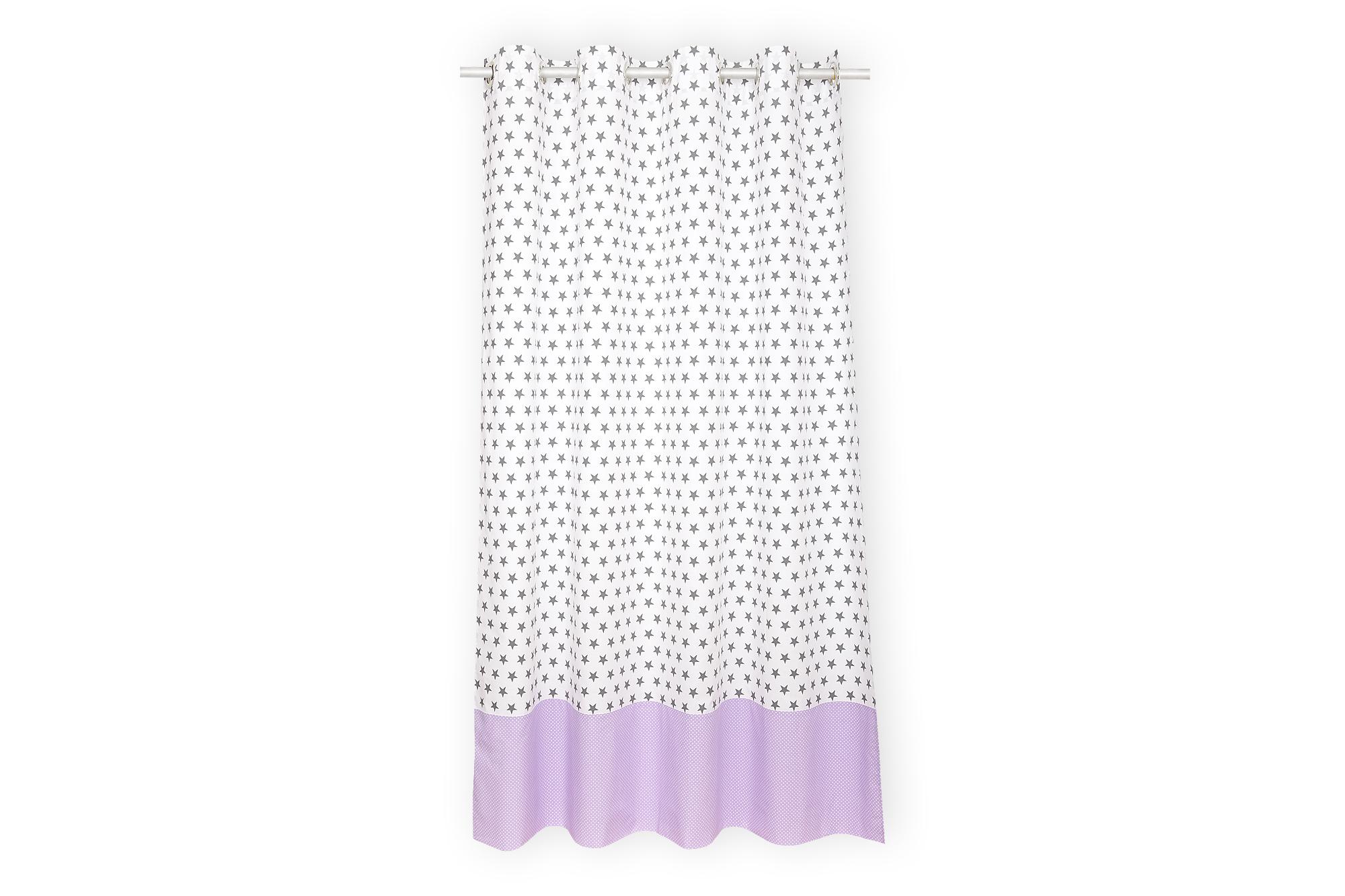 KraftKids Gardinen kleine graue Sterne auf Weiss und weiße Punkte auf Lila Länge: 170 cm