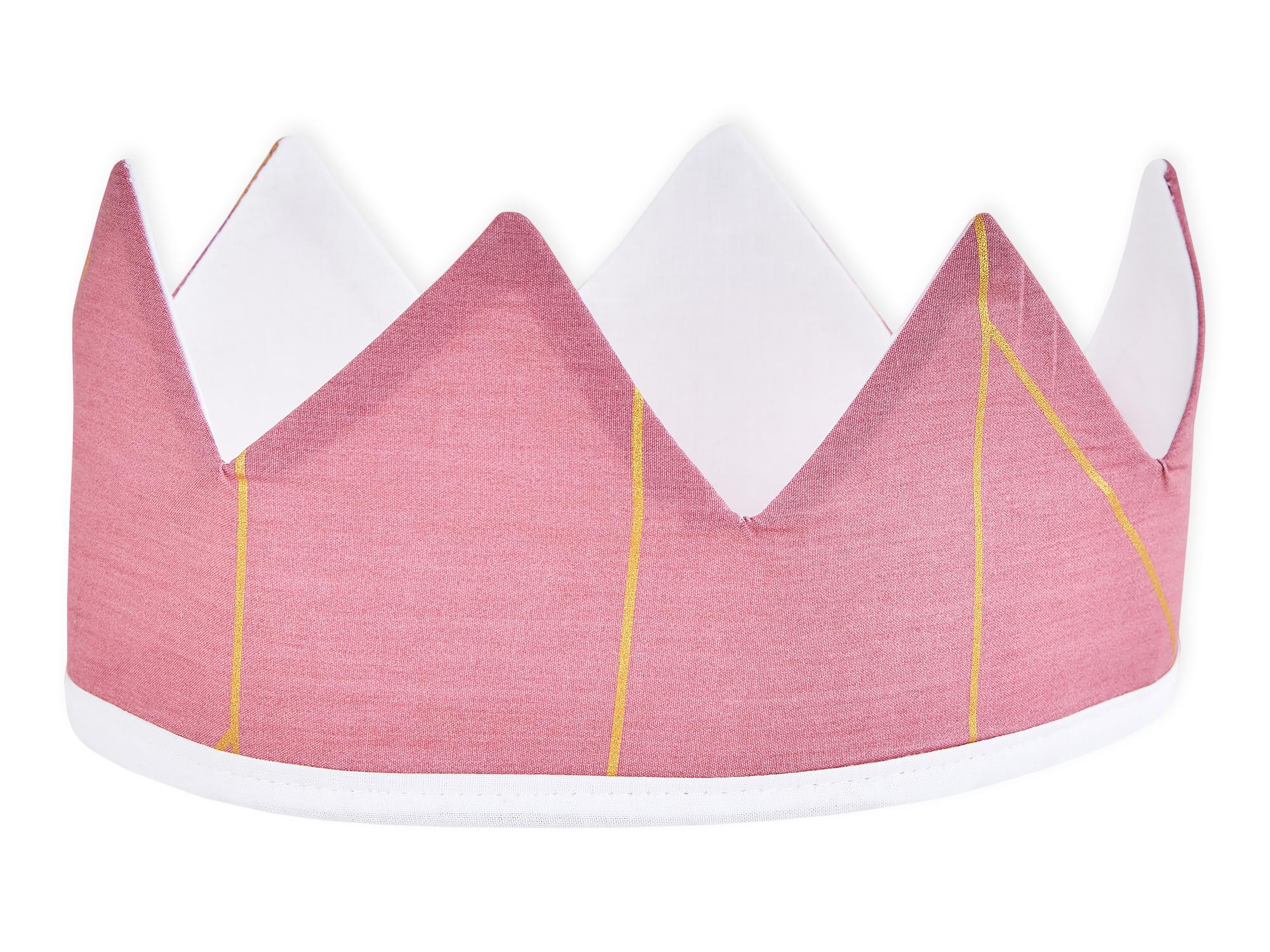 KraftKids Dekoration Stoffkrone goldene Linien auf Rosa