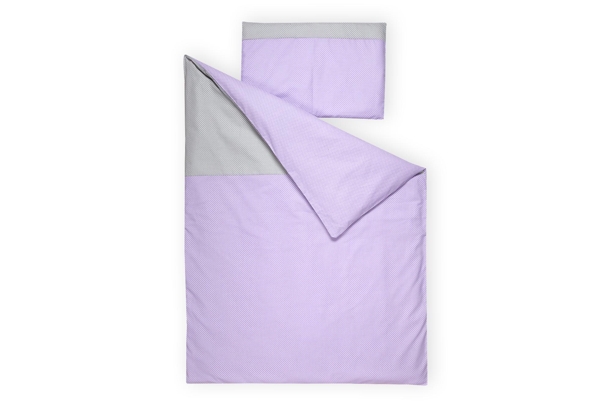 KraftKids Bettwäscheset weiße Punkte auf Grau und weiße Punkte auf Lila 100 x 135 cm, Kissen 40 x 60 cm