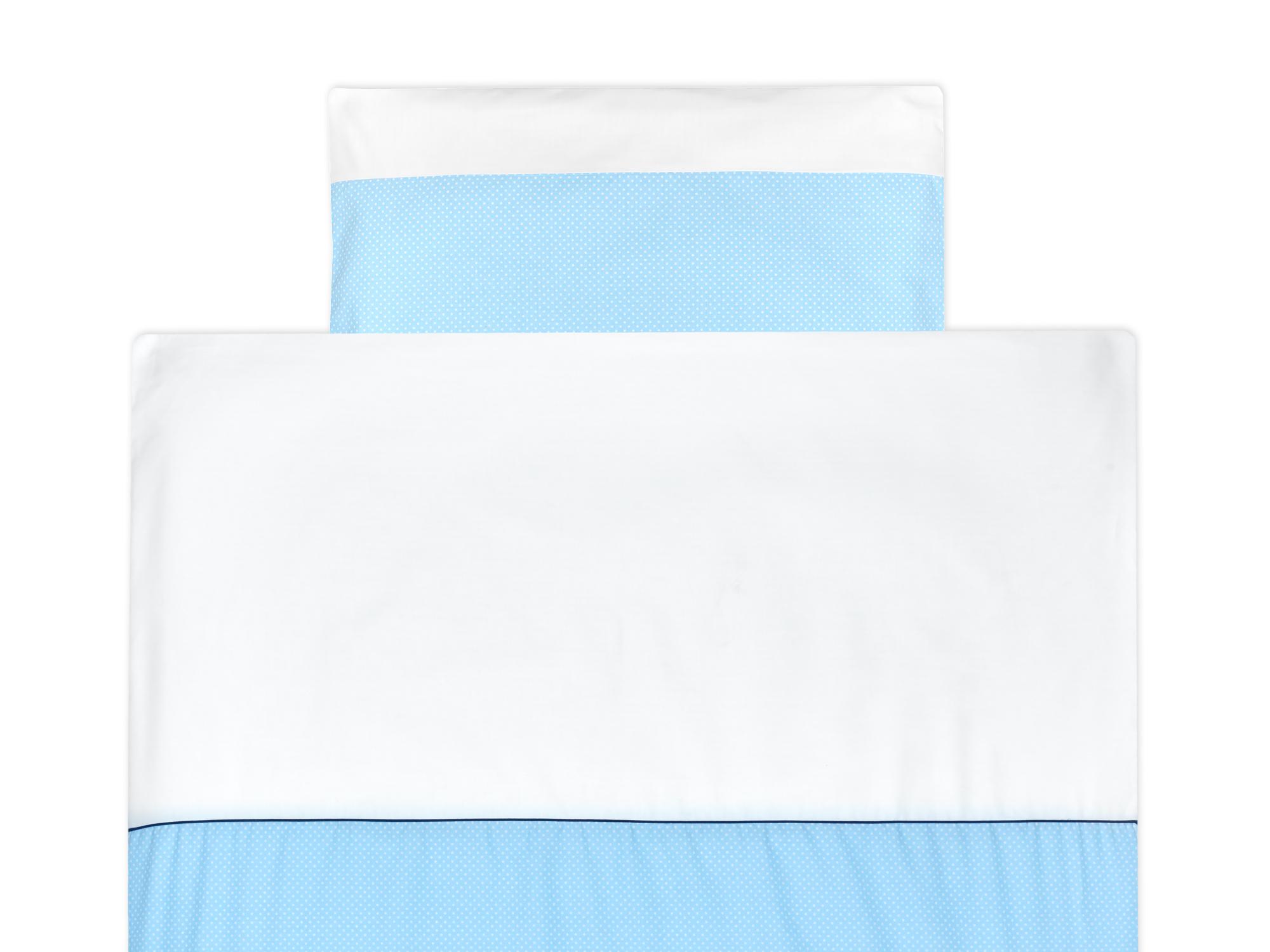 KraftKids Bettwäscheset Uniweiss und weiße Punkte auf Hellblau 100 x 135 cm, Kissen 40 x 60 cm