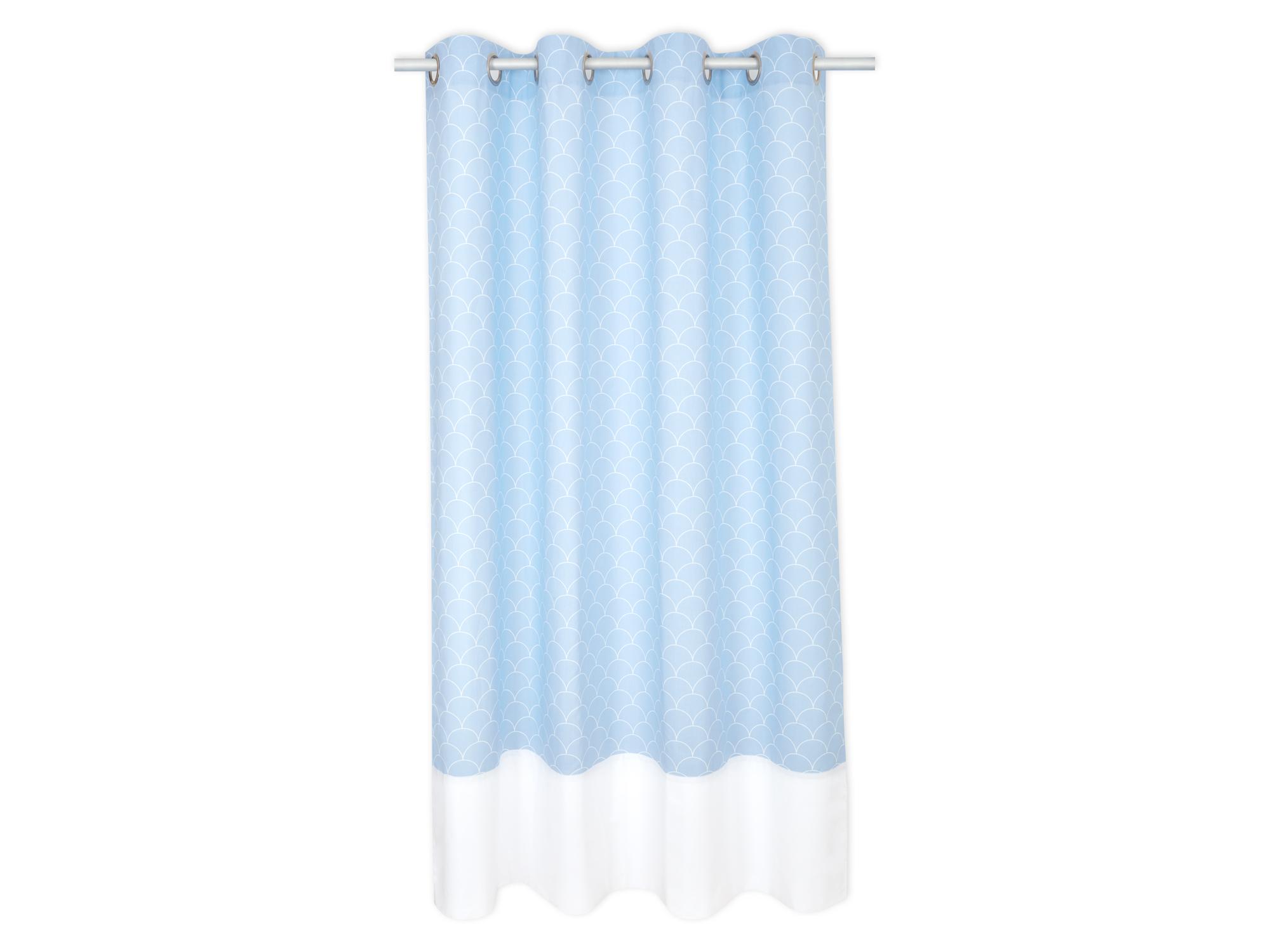 kraftkids gardinen uniweiss und wei e halbkreise auf pastelblau l nge 170 cm. Black Bedroom Furniture Sets. Home Design Ideas