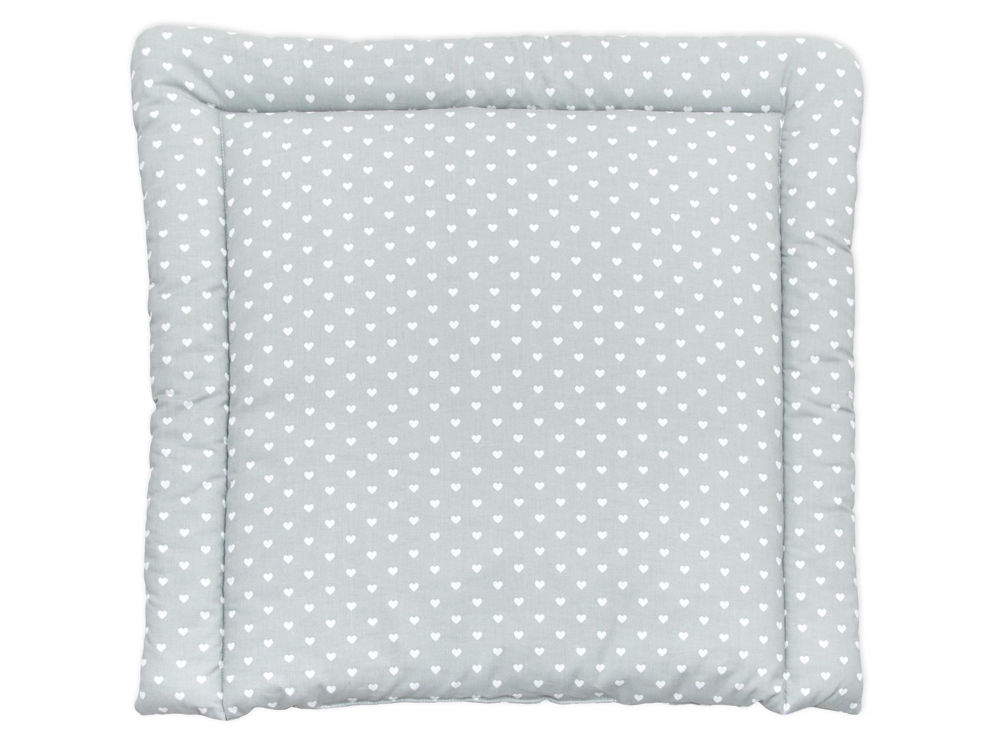 minififia wickelauflage wei e herzen auf grau breit 75 x tief 70 cm. Black Bedroom Furniture Sets. Home Design Ideas
