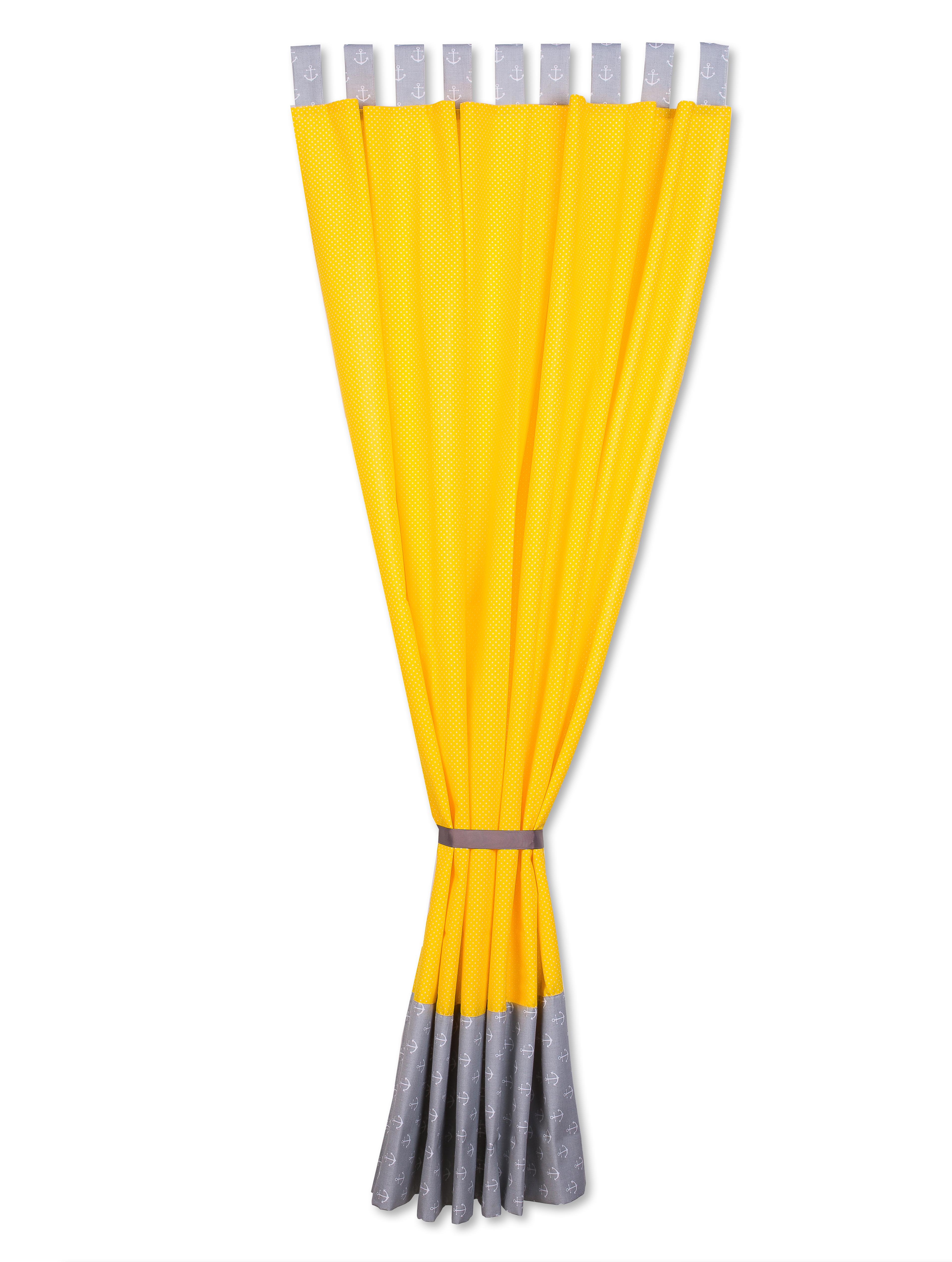 kraftkids gardinen wei e anker auf grau und wei e punkte auf gelb l nge 170 cm. Black Bedroom Furniture Sets. Home Design Ideas