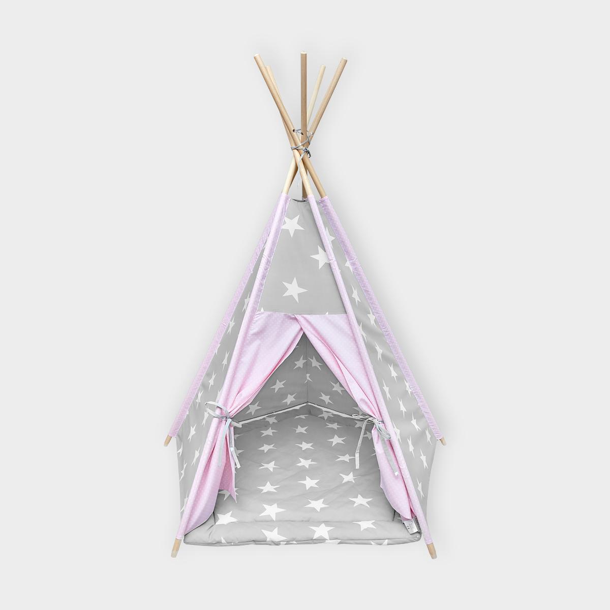 kraftkids spielzelt tipi gro e wei e sterne auf grau und wei e punkte auf rosa inkl spielmatte. Black Bedroom Furniture Sets. Home Design Ideas
