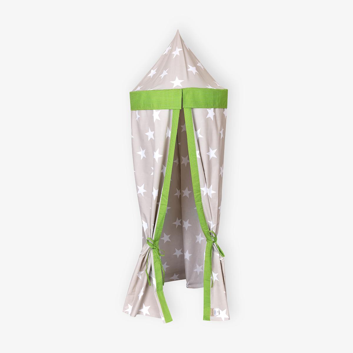 KraftKids Hängezelt große weiße Sterne auf Beige und weiße Punkte auf Grün Baldachin