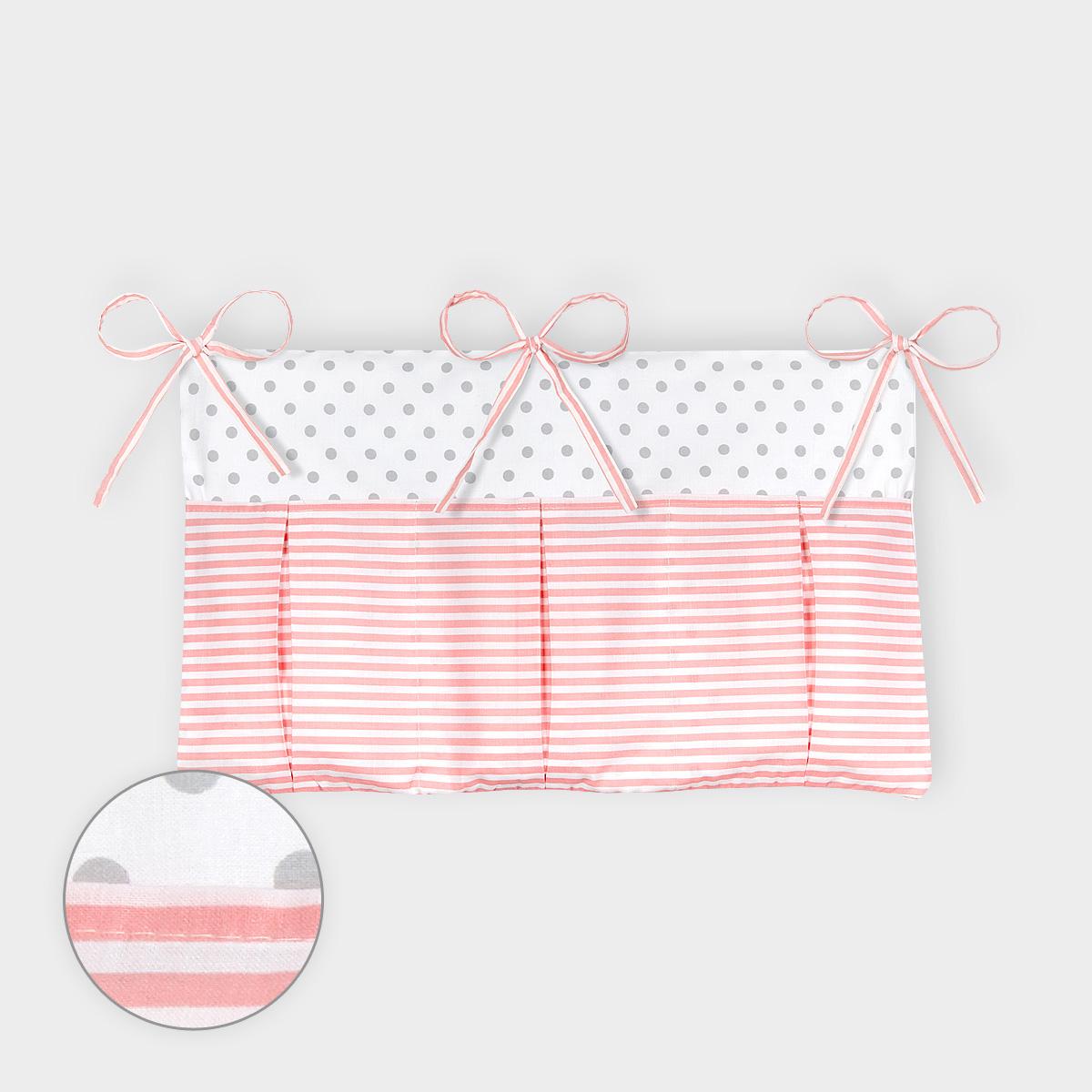 kraftkids betttasche graue punkte auf weiss und streifen rosa. Black Bedroom Furniture Sets. Home Design Ideas