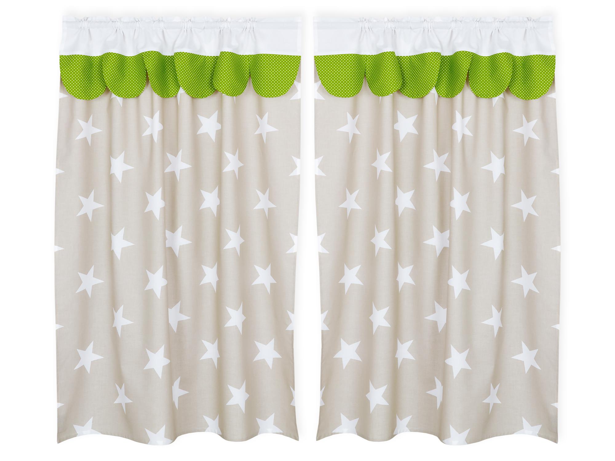 KraftKids Hochbettvorhänge große weiße Sterne auf Beige und weiße Punkte auf Grün Inhalt: 2 Schals