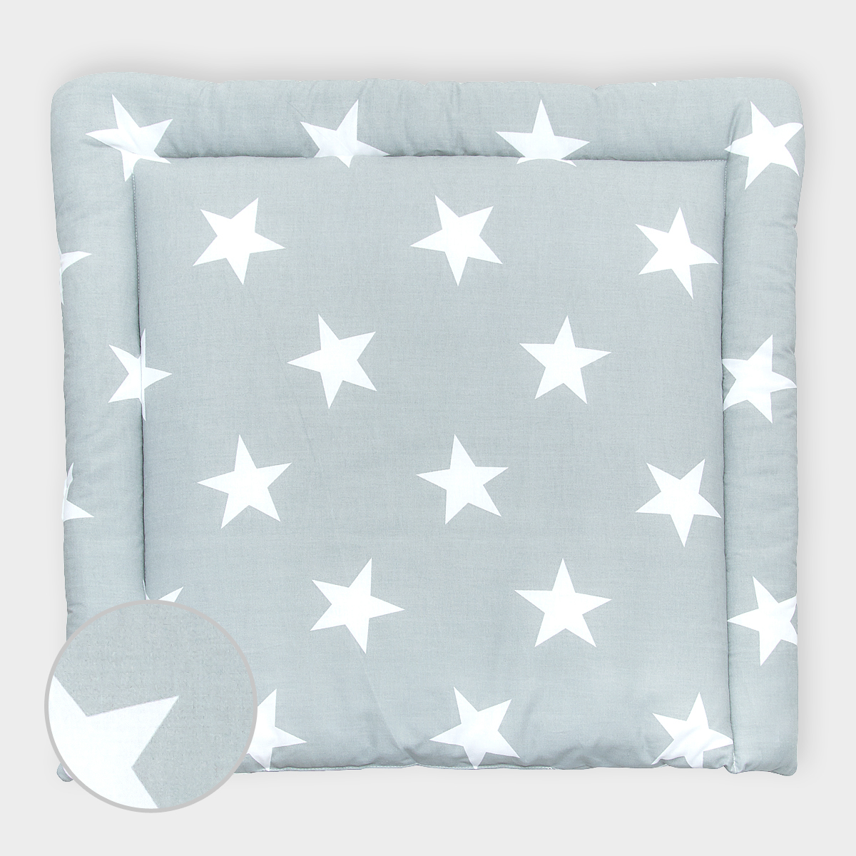 KraftKids Wickelauflage große weiße Sterne auf Grau breit 75 x tief 70 cm