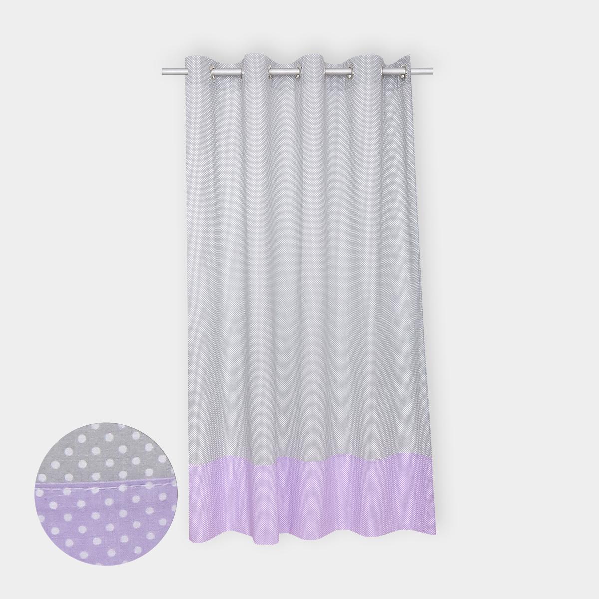 kraftkids gardinen wei e punkte auf grau und wei e punkte auf lila l nge 170 cm. Black Bedroom Furniture Sets. Home Design Ideas