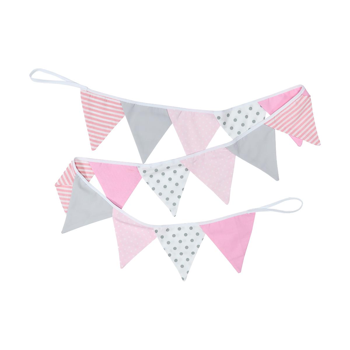 Kraftkids dekoration wimpelkette rosa grau weiss for Kinderzimmer rosa grau