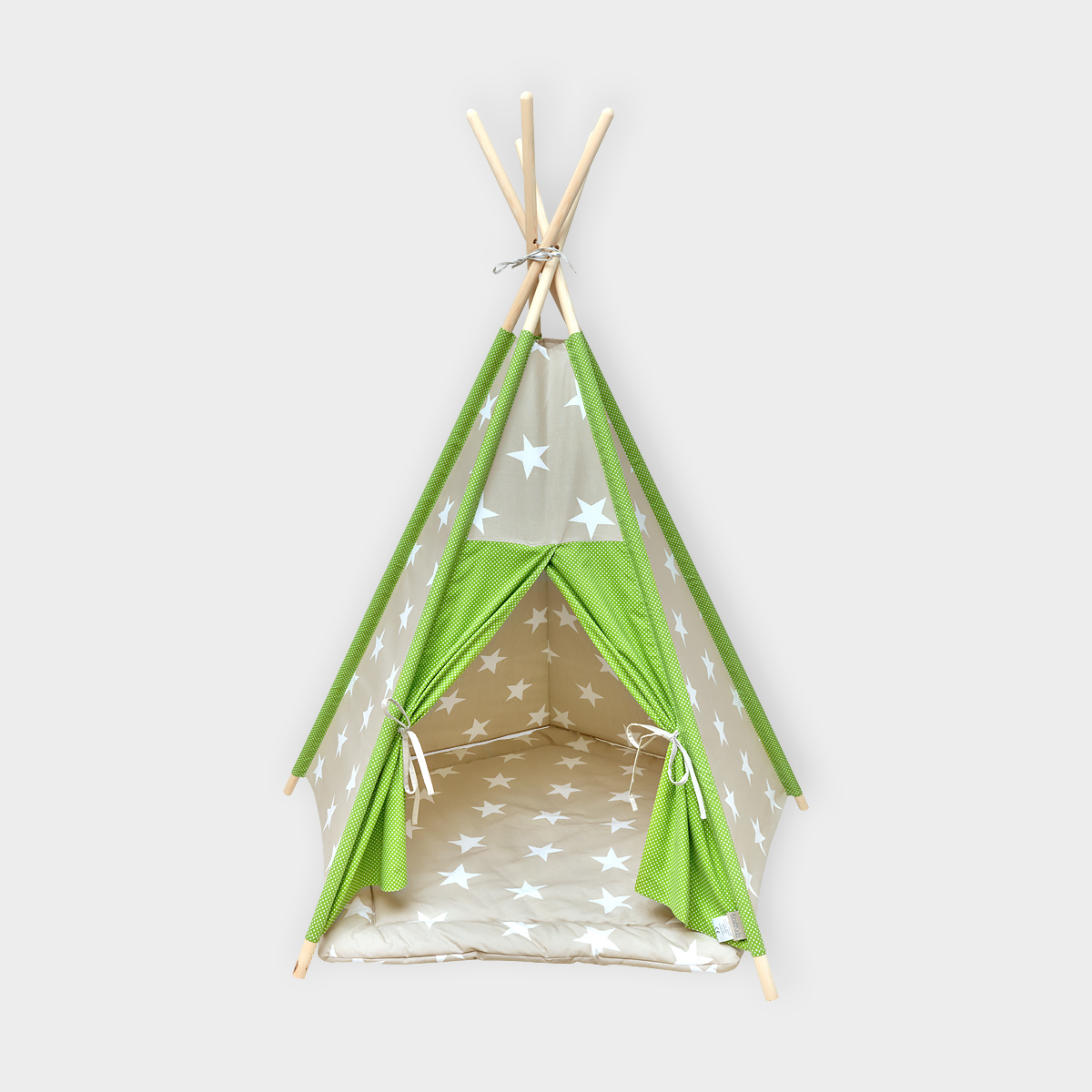 kraftkids spielzelt tipi gro e wei e sterne auf beige und. Black Bedroom Furniture Sets. Home Design Ideas