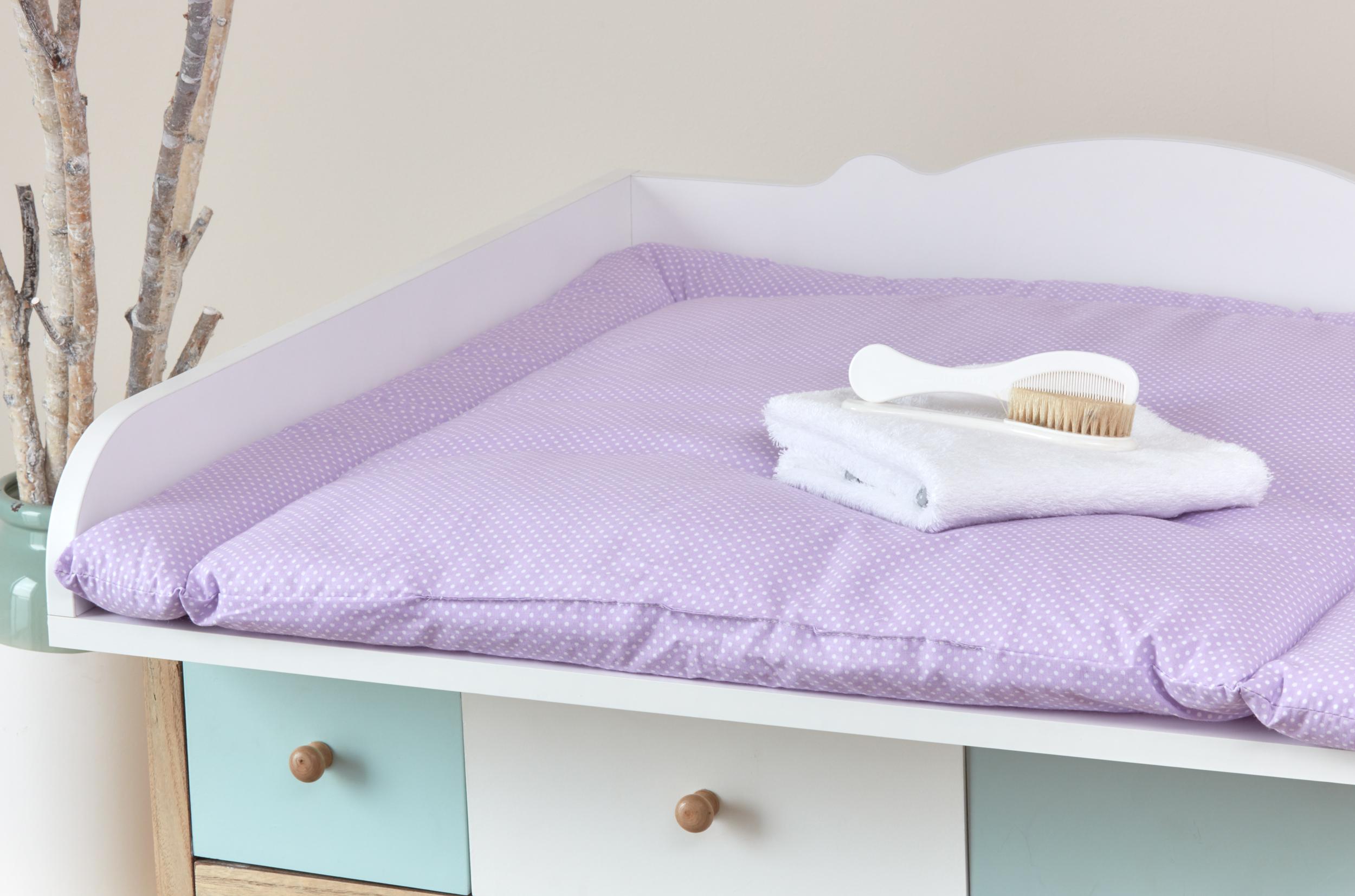 kraftkids wickelauflage wei e punkte auf lila breit 78 x tief 78 cm z b f r malm oder hemnes. Black Bedroom Furniture Sets. Home Design Ideas