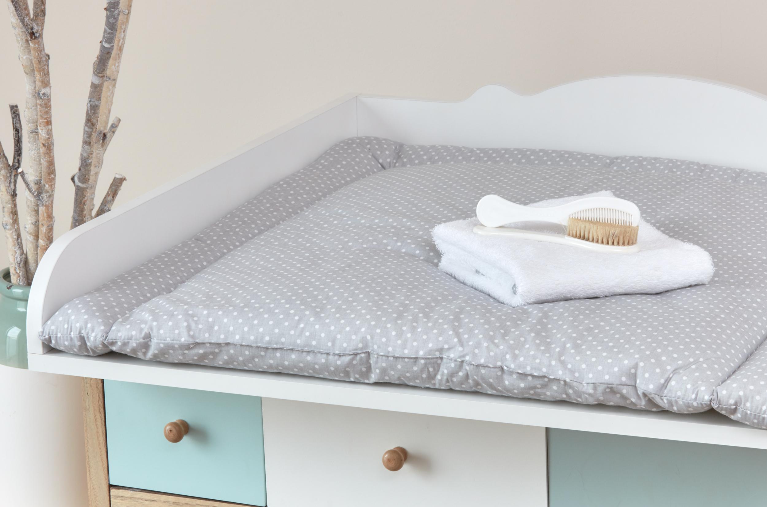 kraftkids wickelauflage wei e punkte auf grau breit 75 x tief 70 cm. Black Bedroom Furniture Sets. Home Design Ideas