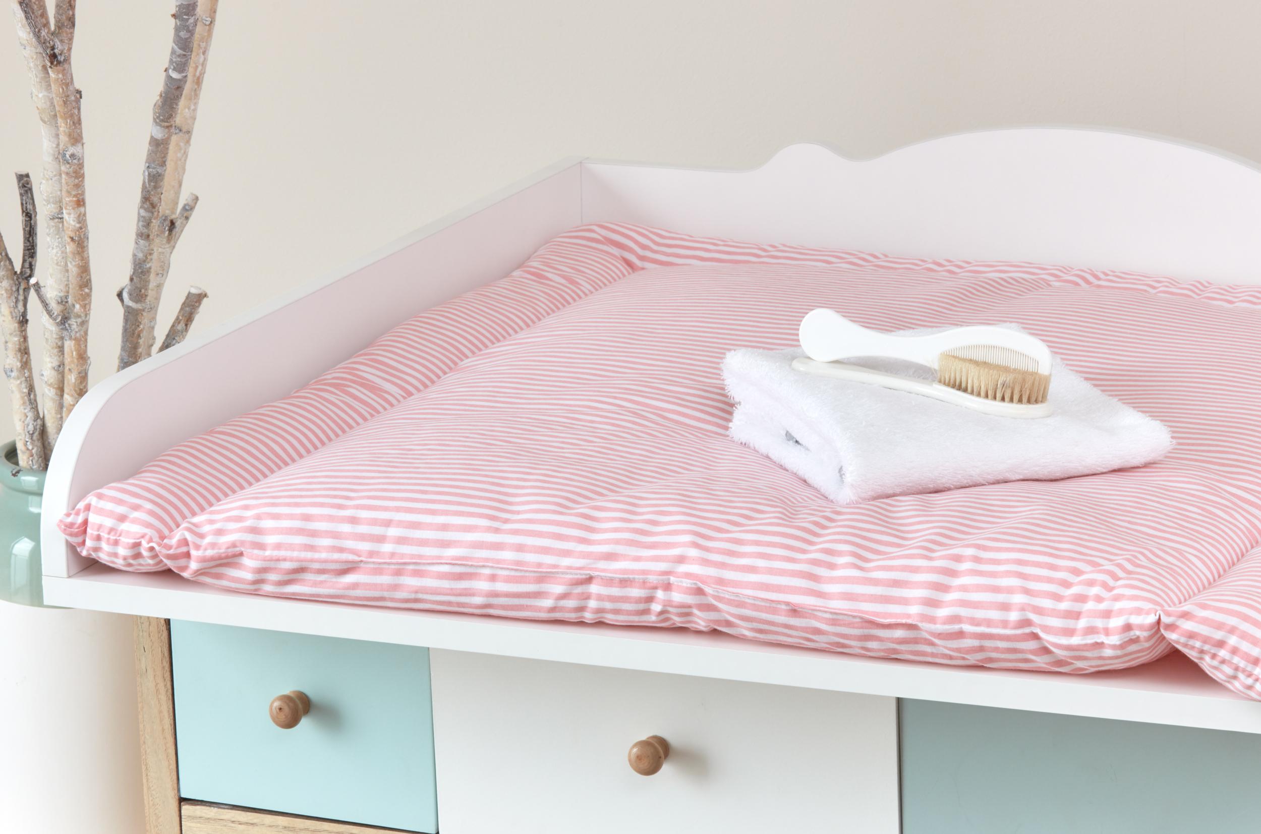 KraftKids Wickelauflage Streifen rosa breit 78 x tief 78 cm z. B ...