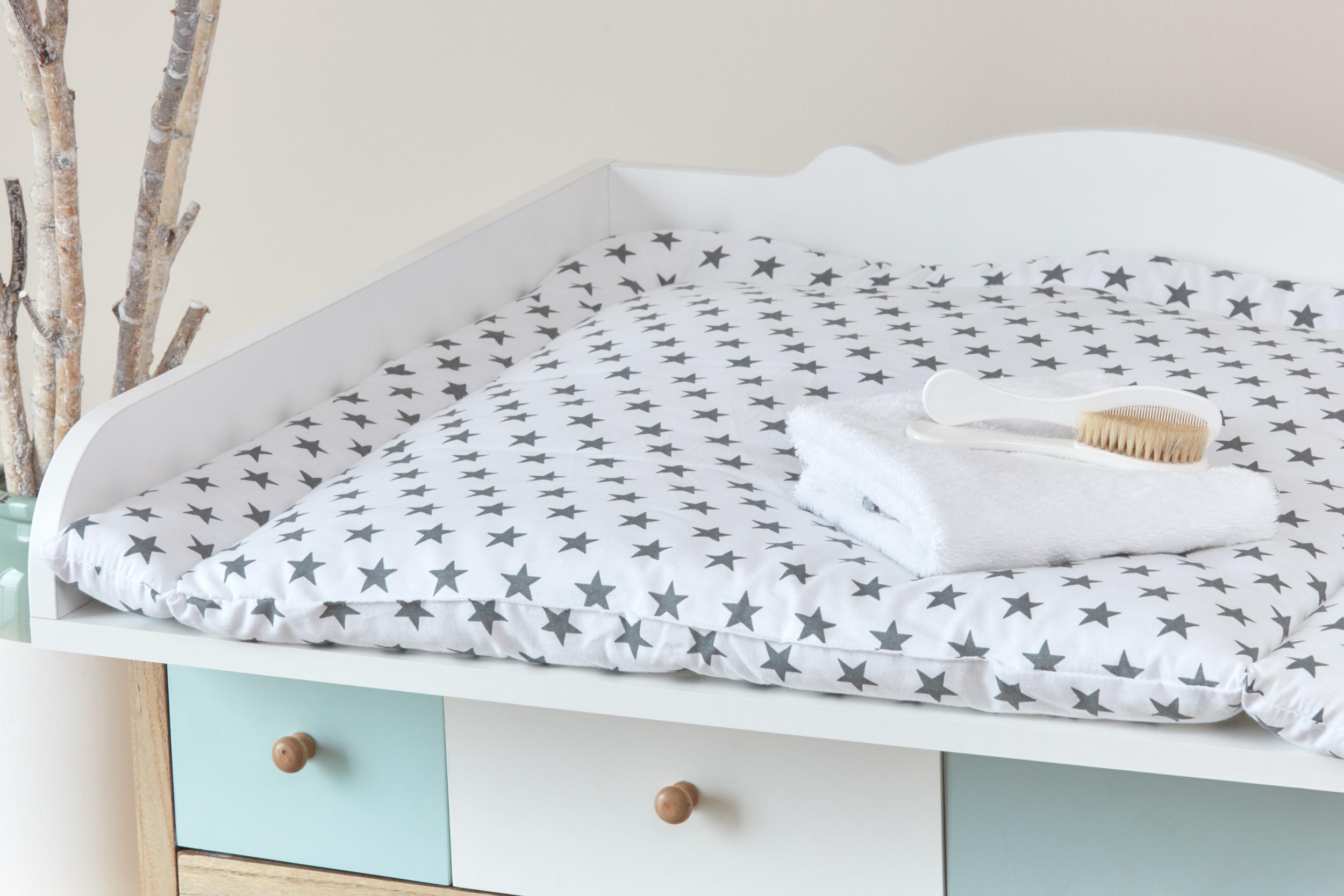kraftkids wickelauflage kleine graue sterne auf weiss 85 cm breit x 75 cm tief. Black Bedroom Furniture Sets. Home Design Ideas