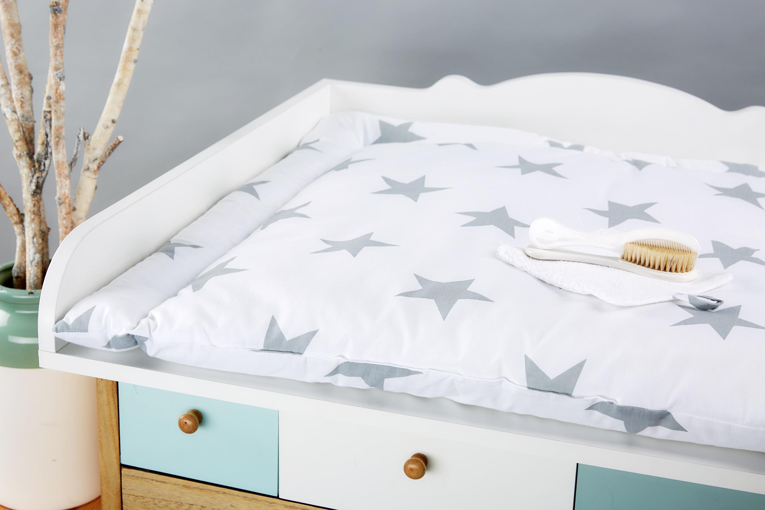 kraftkids wickelauflage gro e graue sterne auf weiss 85 cm breit x 75 cm tief. Black Bedroom Furniture Sets. Home Design Ideas