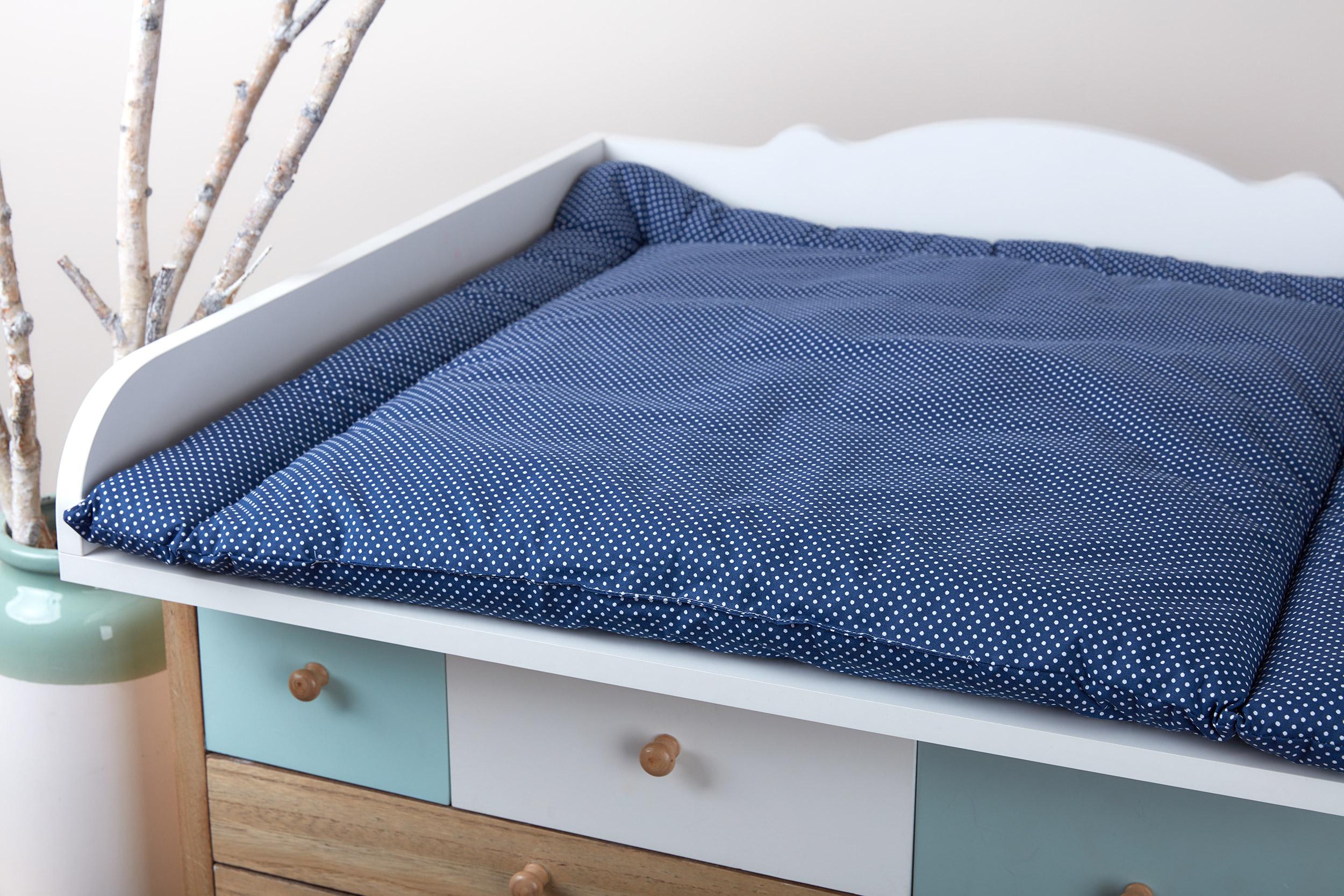 kraftkids wickelauflage wei e punkte auf dunkelblau breit 75 x tief 70 cm. Black Bedroom Furniture Sets. Home Design Ideas